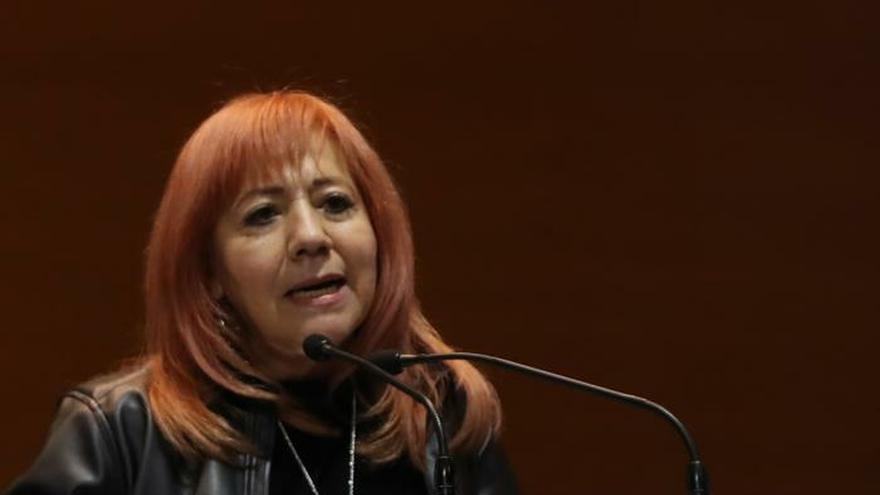 La presidenta de la Comisión Nacional de Derechos Humanos (CNDH), Rosario Piedra Ibarra, habla durante la entrega su primer informe de actividades este miércoles en el salón verde en la Cámara de Diputados en Ciudad de México.