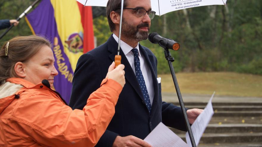 El embajador español en Alemania Pablo García-Bedoy Cerezo en el acto en recuerdo de las Brigadas Internacionales