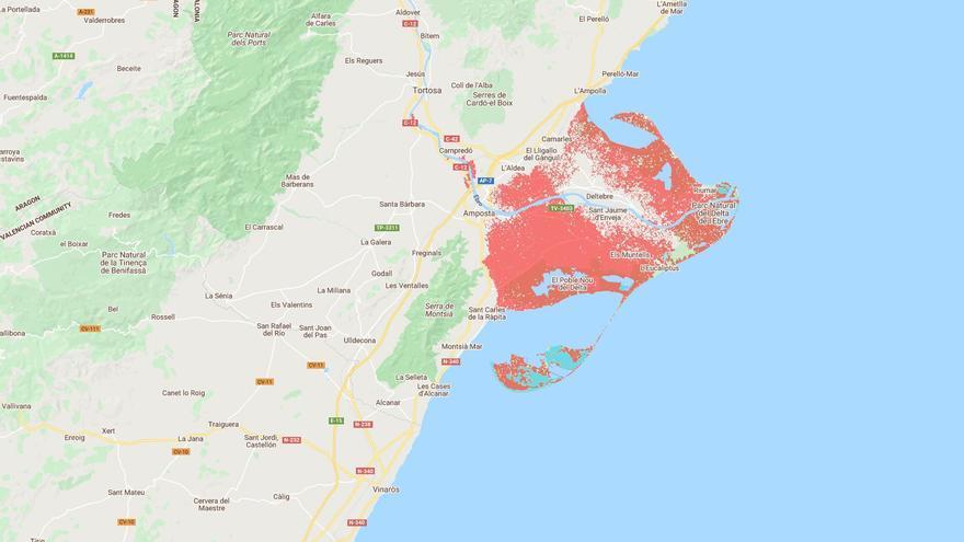 Mapa de riesgo de inundación por subida del mar en el delta del Ebro.