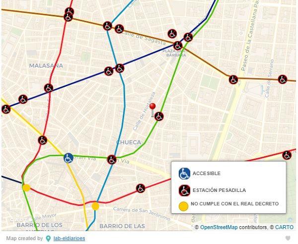 Mapa de accesibilidad estaciones Metro Madrid de diario.es | Imagen: CARTO