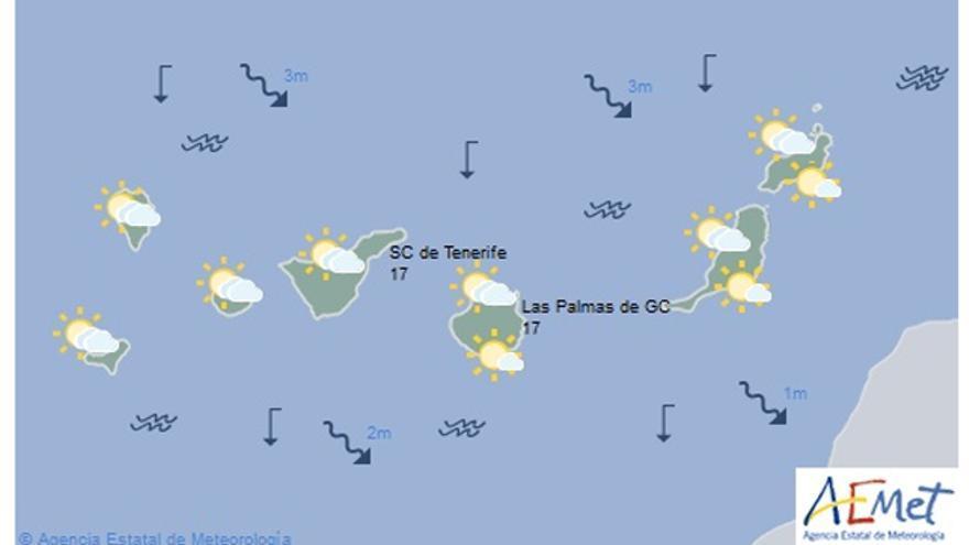 Predicción del tiempo en Canarias para este lunes, 28 de diciembre