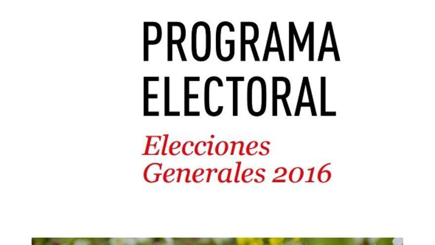 Portada del programa electoral del PSOE con la imagen escogida para la campaña del 26J
