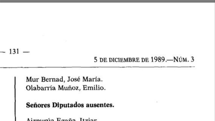 Extracto del acta de investidura de Felipe González, fechada el 5 de diciembre de 1989.
