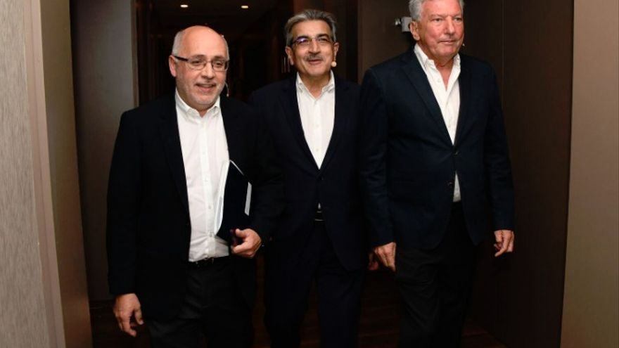 Antonio Morales, Román Rodríguez y Pedro Quevedo en el acto #Canariasconfuturo.