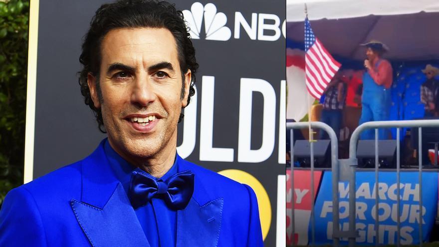 Sacha Baron Cohen en los Globos de Oro y en el evento de extrema derecha, este sábado