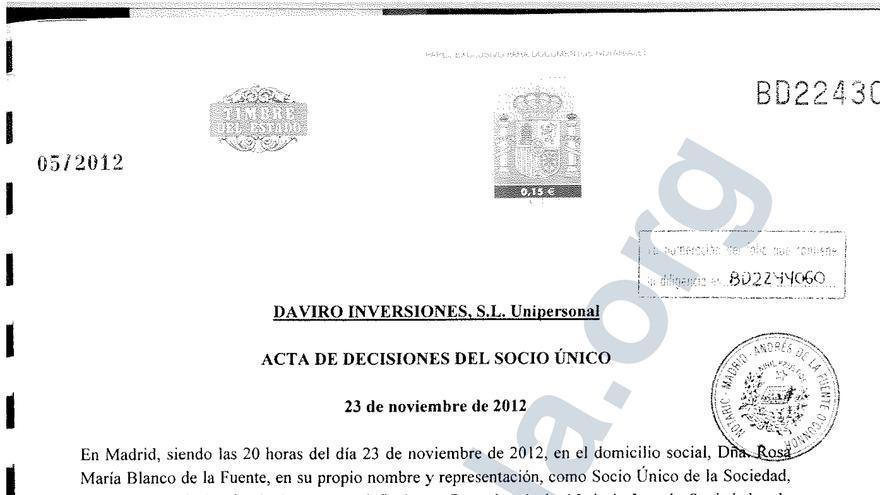 Acta de las aportaciones realizadas a las sociedades de Pipas Facundo provenientes del dinero regularizado