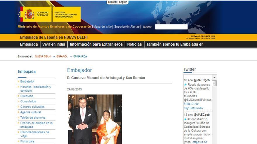 Pantallazo de la web de la Embajada española en Nueva Delhi.
