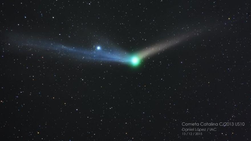 Vista del cometa Catalina C/2013 US10 la noche del 13 de diciembre de 2015. Créditos: Daniel López (IAC).