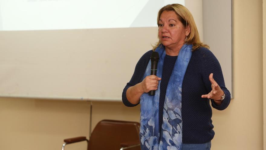 Meri Pita en una asamblea de Podemos