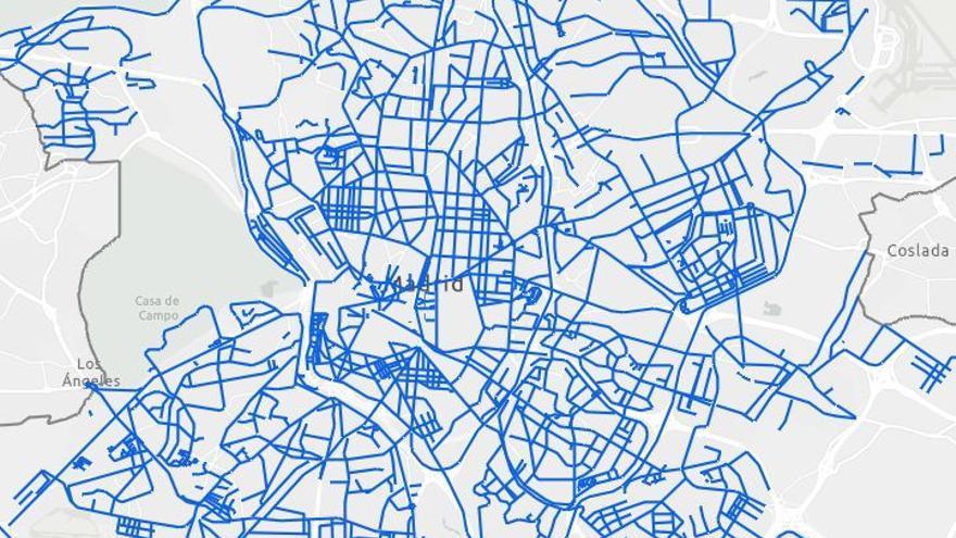Mapa de las calles de Madrid con las calzadas limpias de nieve