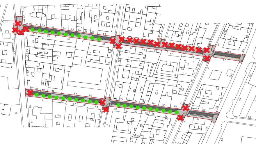 Árboles que han sido retirados del proyecto original (cruces rojas) y los que se mantienen (círculos verdes) | SOMOS MALASAÑA