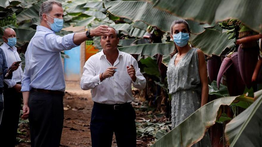 Los Reyes durante su visita a una explotación platanera en el Sur de Tenerife.