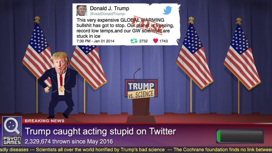 Captura de pantalla del videojuego 'Trump vs Science'