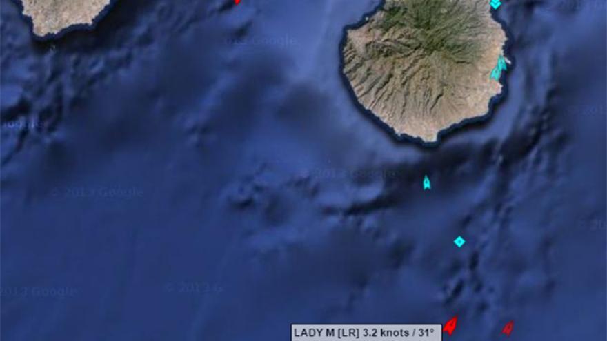 El buque cisterna Lady M, a unos 98 kilómetros al suroeste de Gran Canaria, navega hacia el Puerto de La Luz. (Imagen: MarineTraffic.com)