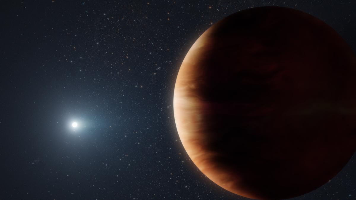 Representación artística de un exoplaneta similar a Júpiter, recientemente descubierto, que orbita alrededor de una enana blanca o estrella muerta