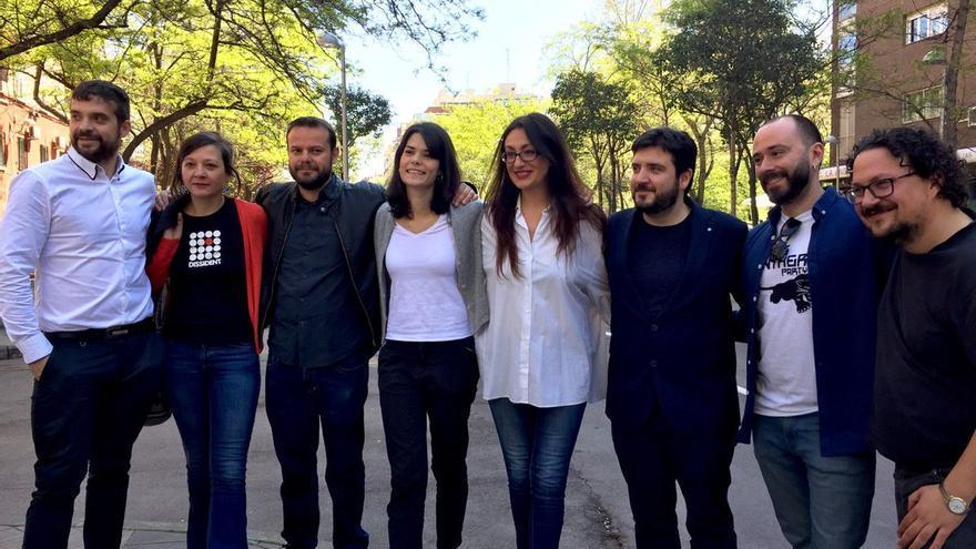 En el centro: Raúl Camargo (Anticapitalistas) Isa Serra (candidata Unidas Podemos IU a la Comunidad de Madrid), Sol Sánchez (IU Madrid) y Álvaro Aguilera (PCM).