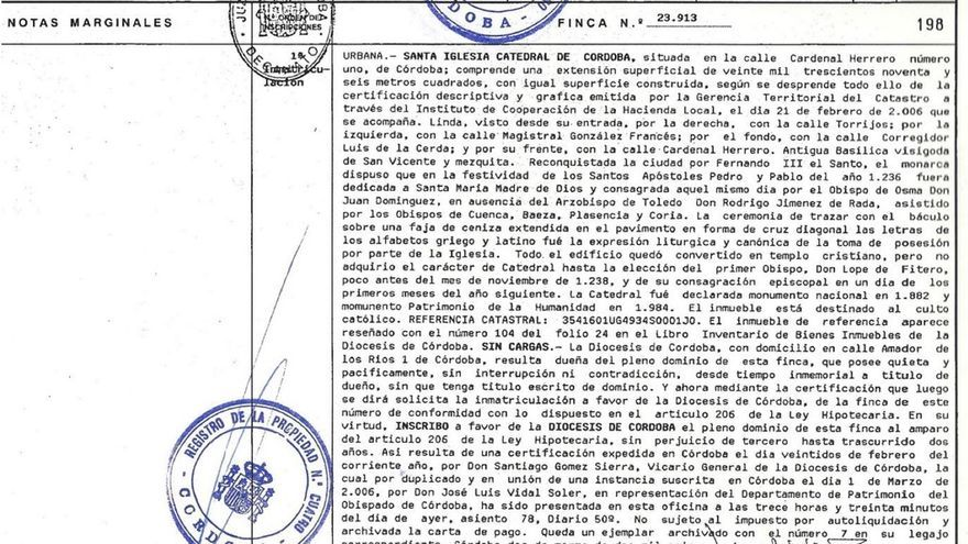 Documento de inmatriculación de la Mezquita Catedral
