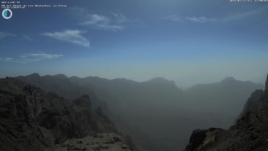 Calima este sábado en las cumbres de La Palma. Imagen captada de la webcam de Sky Live TV del IAC en el Roque de Los Muchachos (Garafía).