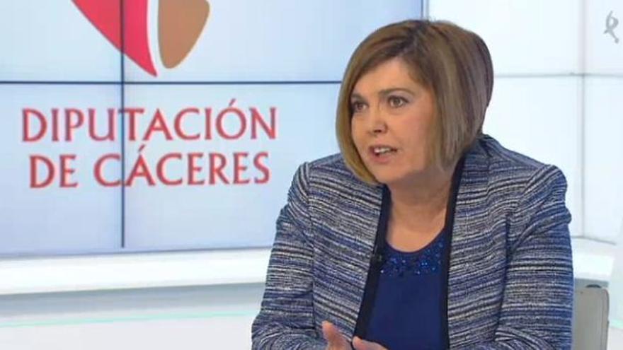 Una imagen de la entrevista a Rosario Cordero, presidenta (PSOE) de la Diputación de Cáceres