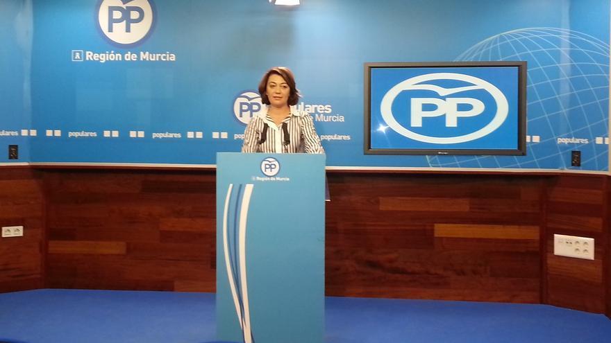 Severa González en la sede regional del PP murciano
