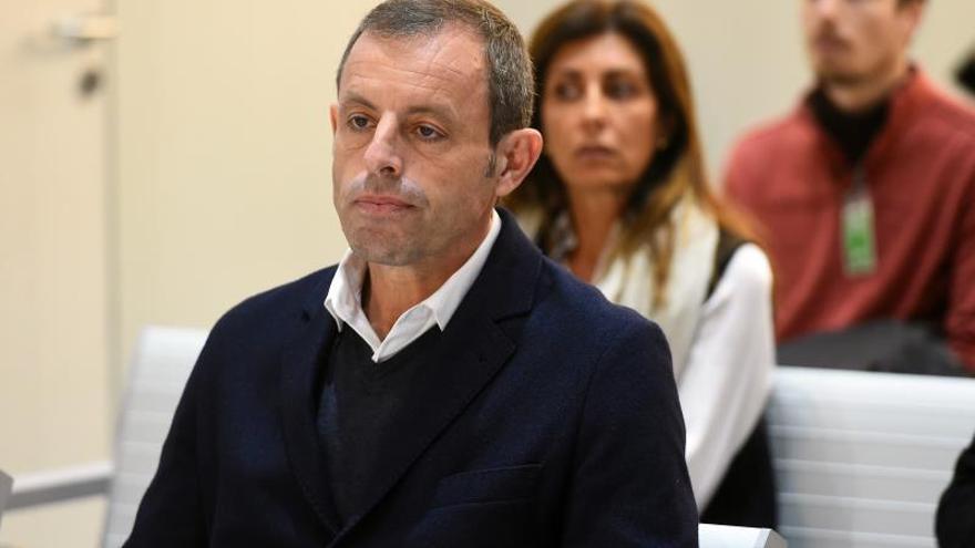 El expresidente del FC Barcelona Sandro Rosell en el juicio que ha comenzado este lunes en la Audiencia Nacional por supuesto blanqueo de 20 millones de euros
