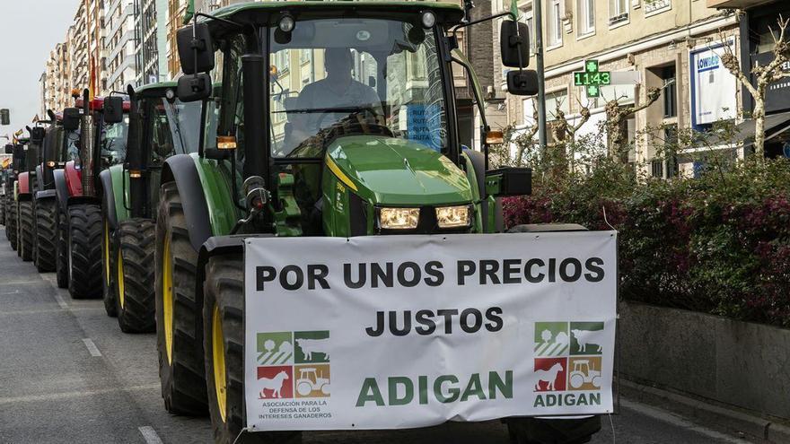 Manifestación de agricultores y ganaderos en Santander. | JOAQUÍN GÓMEZ SASTRE