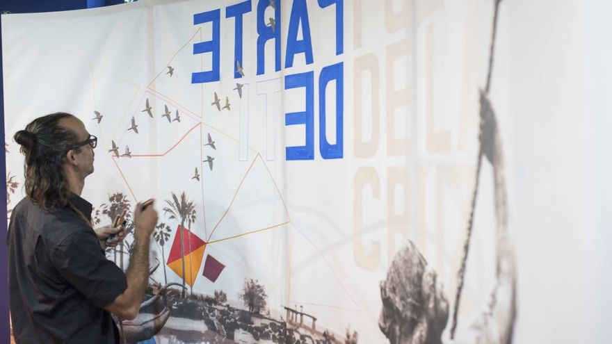 El mural presentado por Puerto de la Cruz en Fitur