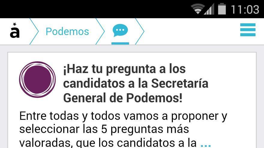 Pregunta propuesta en Appgree por los simpatizantes de Podemos