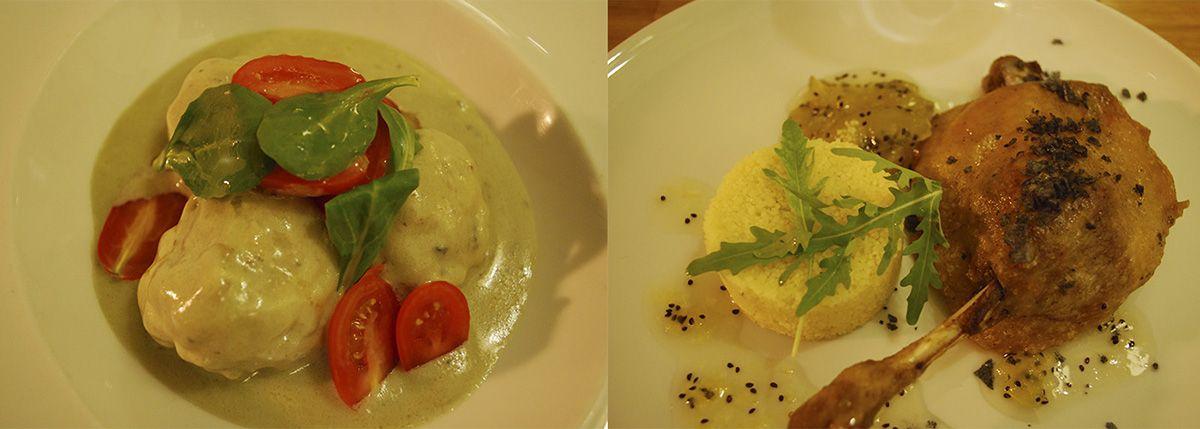 Díptico albóndigas de bacalao y queso azul y confit de pato con cuscús con mermelada de kiwi