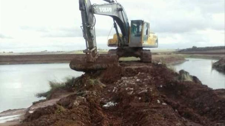 Excavadora trabajando en el talud del río Azuer, Daimiel (Ciudad Real), 12/11/14 / Foto: www.tablasdedaimiel.com