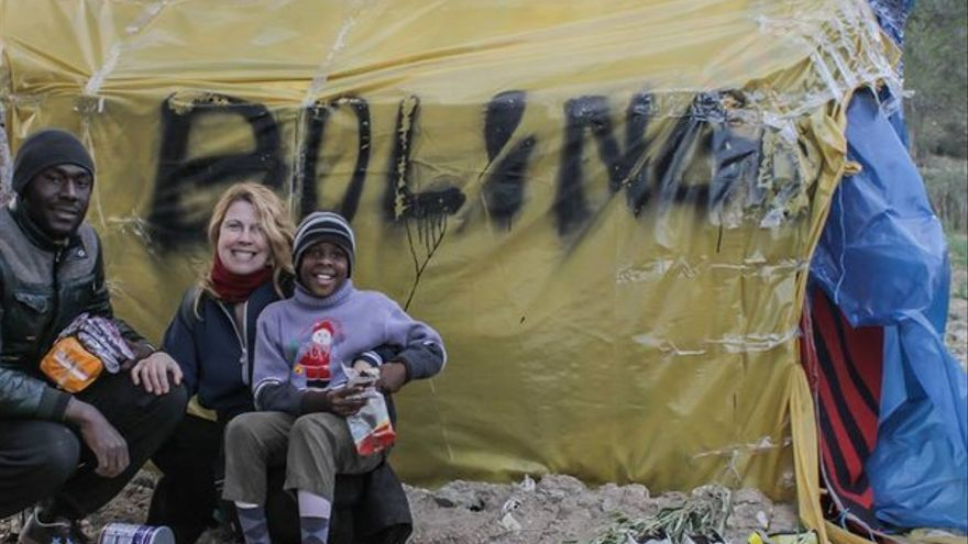 La cineasta en los campamentos de la valla de Melilla