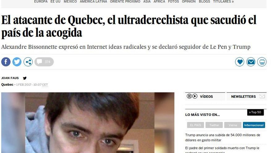 Noticia de El País sobre el atacante de Quebec.