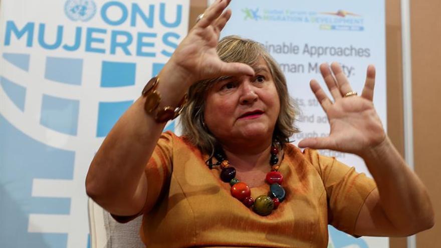La directora de ONU Mujeres para América Latina y el Caribe, la uruguaya María-Noel Baeza, fue registrada este martes, durante el XII Foro Global sobre Migración y Desarrollo (FGMD) de la ONU, en Quito (Ecuador).