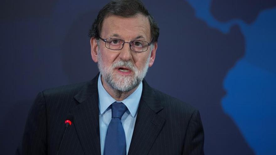 El presidente del Gobierno español, Mariano Rajoy, durante el anuncio del proyecto del cable de telecomunicaciones submarino España-Brasil.