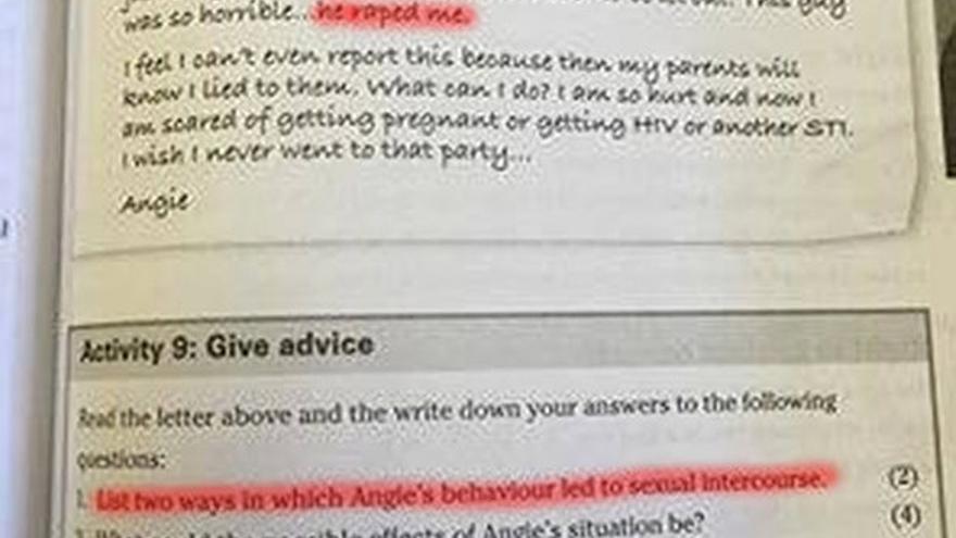El libro de texto que plantea la responsabilidad de la víctima de una violación.
