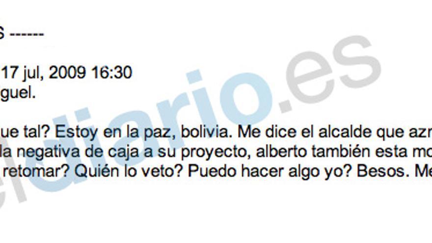 SMS recibido por Miguel Blesa