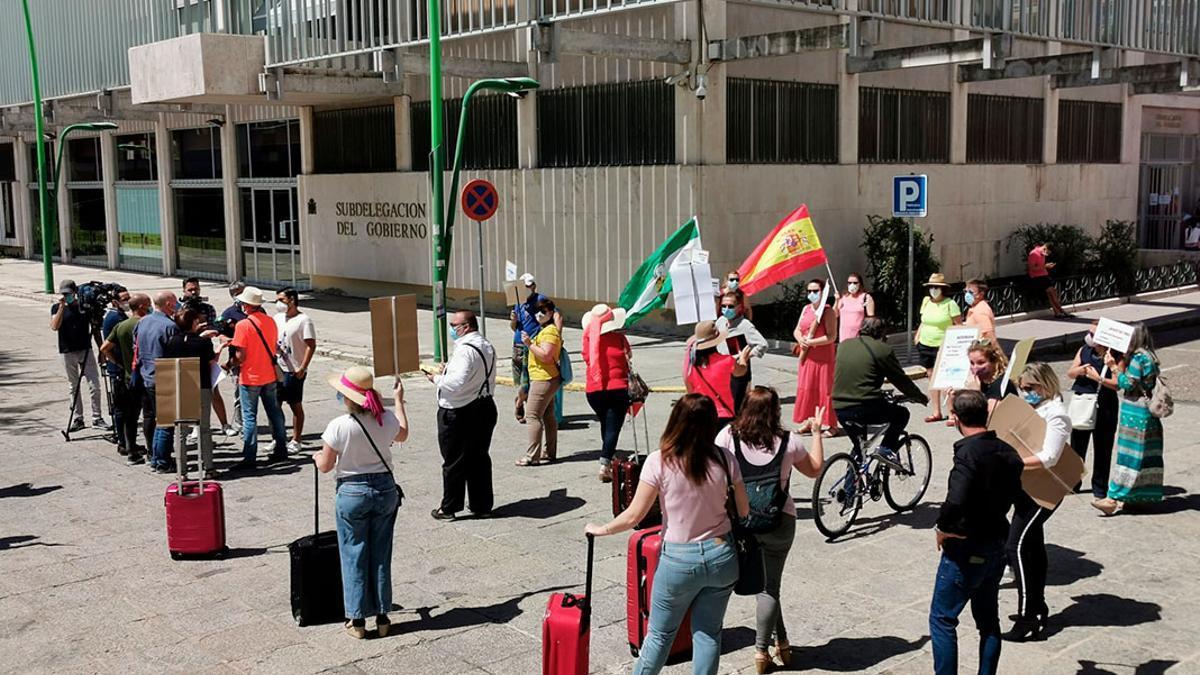 Protesta de profesionales de las agencias de viajes en Córdoba.