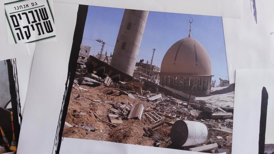 Fotografía de la última gran ofensiva militar israelí sobre Gaza en la oficina de la organización Breaking the Silence. / Ana Garralda.