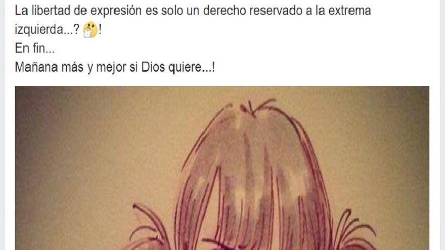 Comentario en Facebook sobre la libertad de expresión de Amparo Ciscar, concejal del PP en Paiporta (Valencia).
