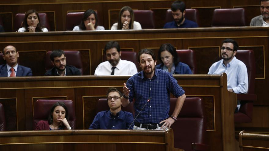 Distribución actual de las primeras filas de los diputados de Unidos Podemos.