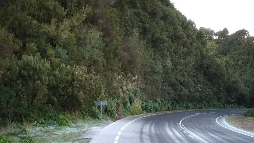 Hielo en la carretera del norte de La Palma, en la mañana de este martes,  en la cercanía de San Antonio del Monte (Garafía).
