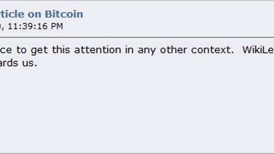 Uno de los últimos mensajes de Nakamoto en el foro Bitcoin