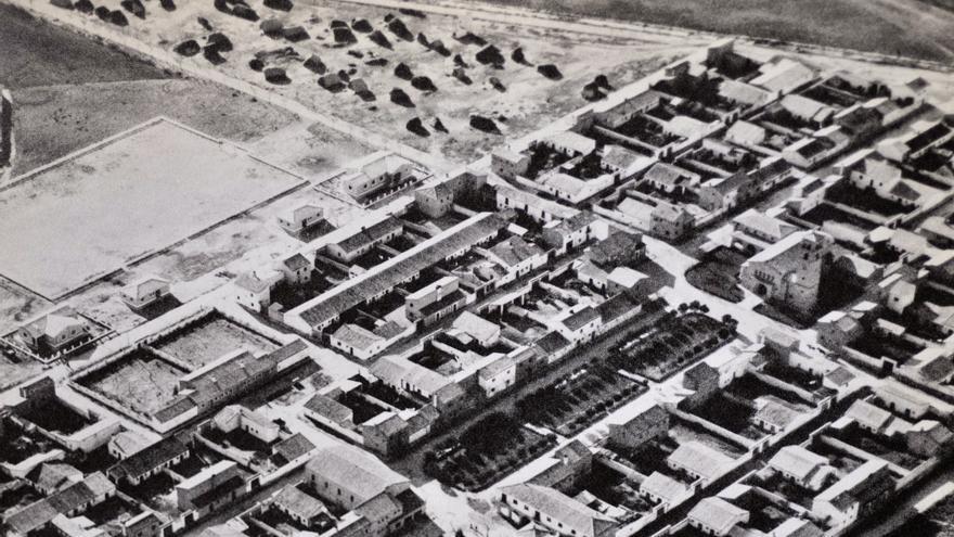 Vista de Ontinar de Salz en la época de su fundación.