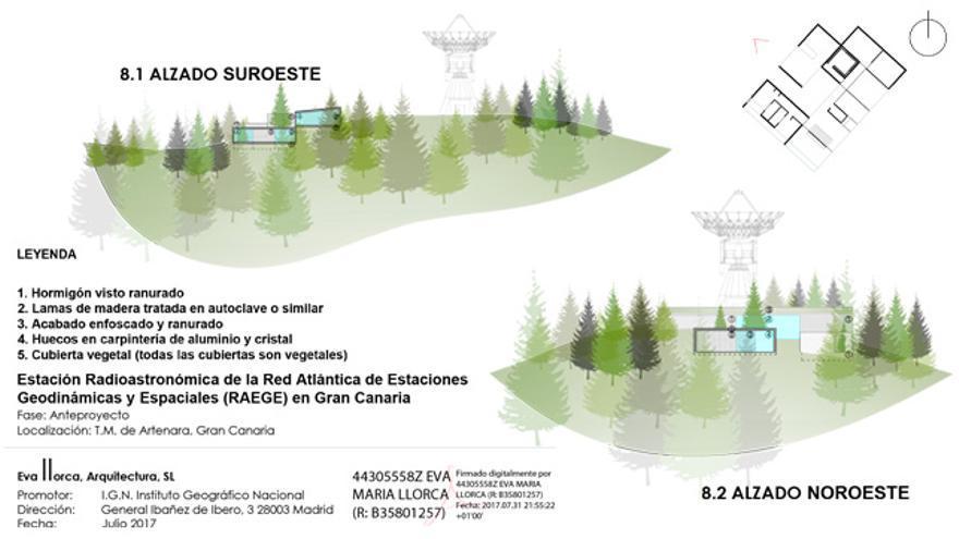 Imagen del proyecto del radiotelescopio de Artenara.