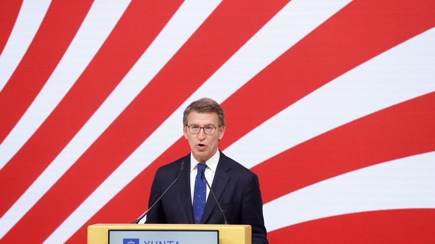 El presidente de la Xunta, Alberto Núñez Feijóo, en el stand de Galicia durante su intervención en la inauguración de la 41 edición de la Feria Internacional del Turismo,Fitur. EFE/Chema Moya