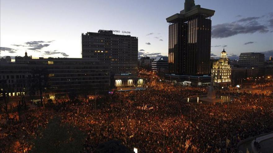 La plaza de Colón, en las marchas del 22M. / Efe