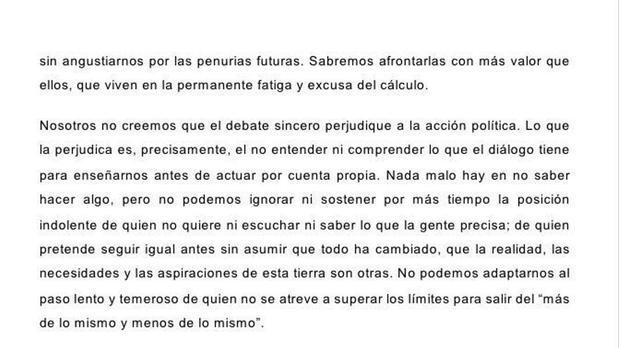 Comunicado de Podemos en el que rompen el acuerdo de investidura con García-Page