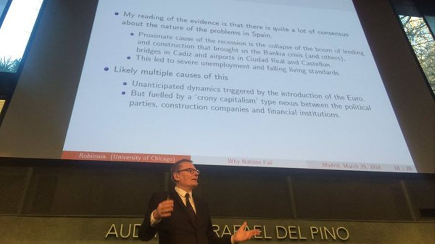 James A. Robinson, en su conferencia en Madrid.