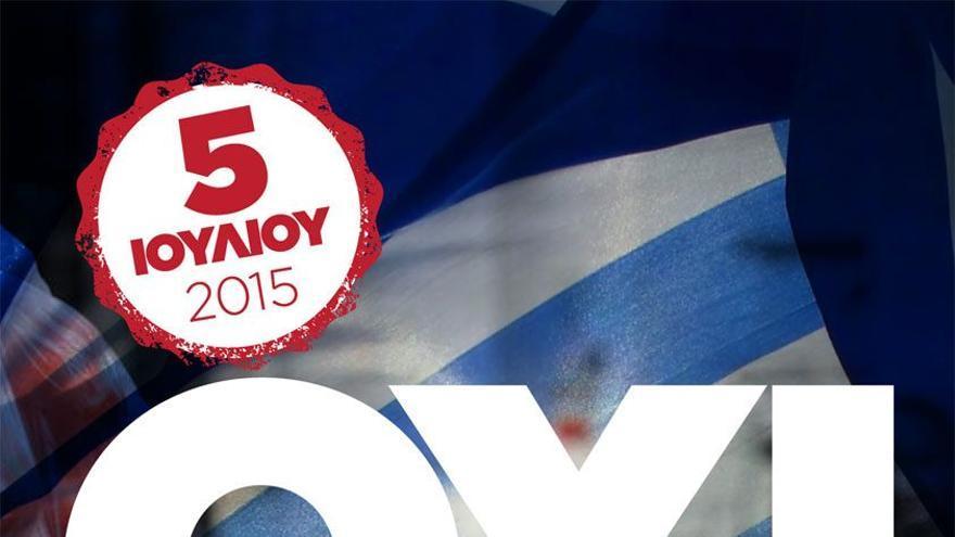Cartel de Syriza con el 'no' para el referéndum del 5 de julio.