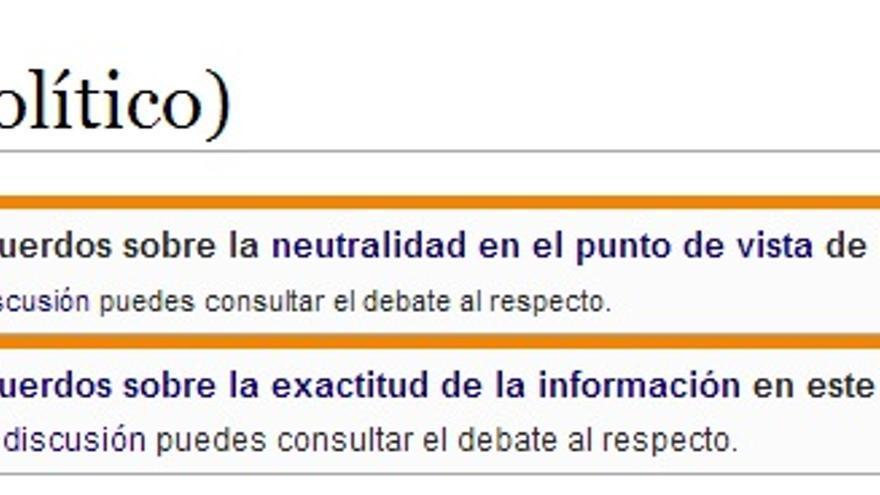 Wikipedia advierte que hay desacuerdos sobre la neutralidad y la exactitud de la información del artículo sobre Podemos.